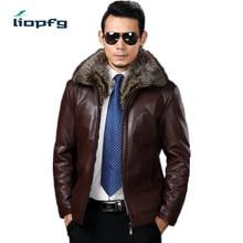 sheepskin coat  men genuine leather mens jacket park High quality Raccoon fur collar bomber leather jacket large size 5XL MK 532