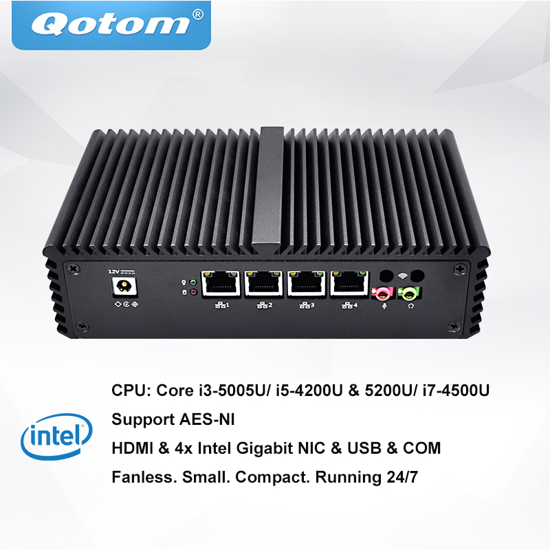 QOTOM Pfsense Mini PC avec Core i3 i5 i7 processeur et 4 Cartes Réseau Gigabit, soutien AES-NI, Série, fanless Mini PC PFSense