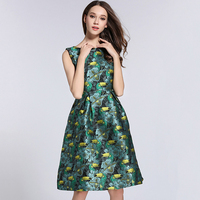 Women Dress Plus Size Dress Lovely Bird Casual O Neck Fashion Knee Length Sexy 2018 Jacquard