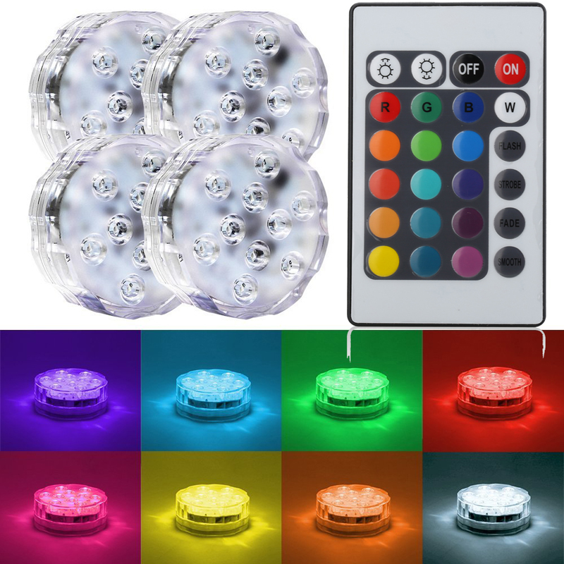 10 Led Remote Controlled RGB Submersible Light Battery Operated ...