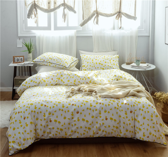 Japanese style Bedding Sets 3/4pcs small yellow flower Bed Linings Duvet Cover Bed Sheet Pillowcases Cover Set twin queen size