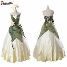 Косплей diy на заказ принцесса и лягушка Принцесса Платье Тиана для танцевальной вечеринки зеленый взрослый Косплей Костюм