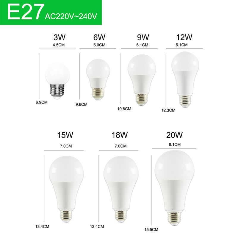 10pcs หลอดไฟ LED หรี่แสงได้หลอดไฟ LED โคมไฟ E27 E14 AC220V 240V หลอดไฟ Power 20W 18W 15W 12W 9W 5W 3W สมาร์ท IC Lampada LED Bombilla