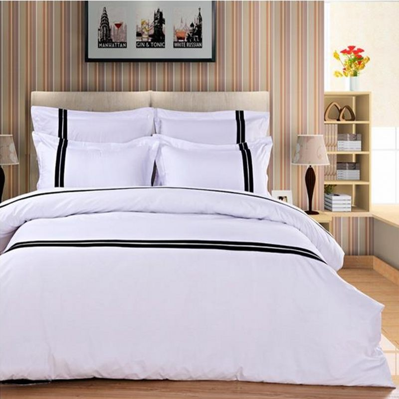 Online buy wholesale black white striped bedding from for What is a french bed in a hotel