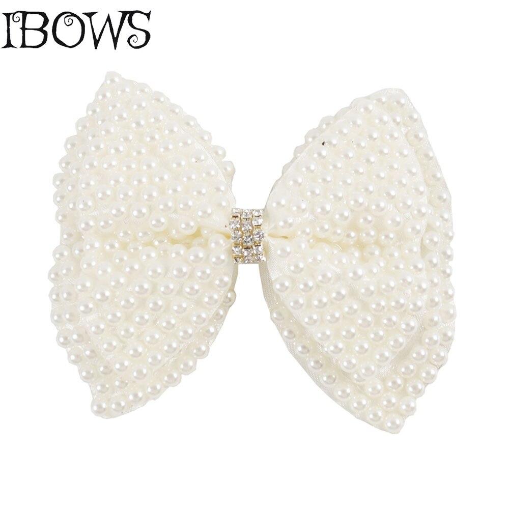 3.5 Inch Boutique Pearl Hair Bows Sweet Diamond Rhinestone Hairbow With Alligator Clips For Newborn Girls Headwear