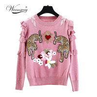 Autumn Winter Animal Embroidery Knitted Sweaters Pullovers Women Runway Design Ruffle Elegant Top Clothes Lady Jumper C 193