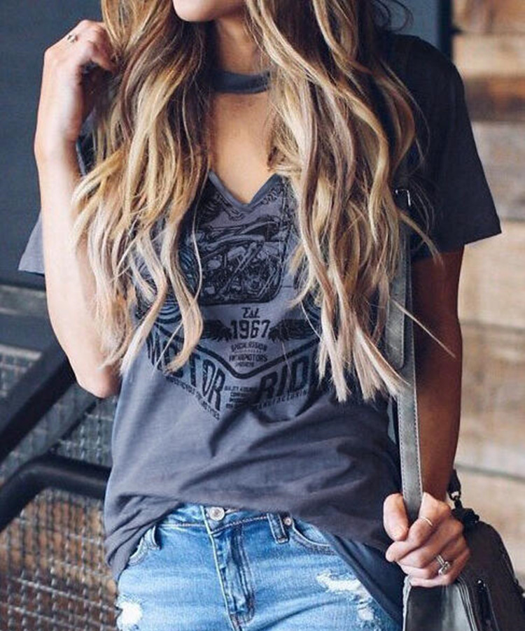 Fashion Tops Tee For Summer 2019 Printed V-Neck T-shirt Women Sexy Short Sleeve Tees T-shirt Femme Imprime Tops Lady Streetwear