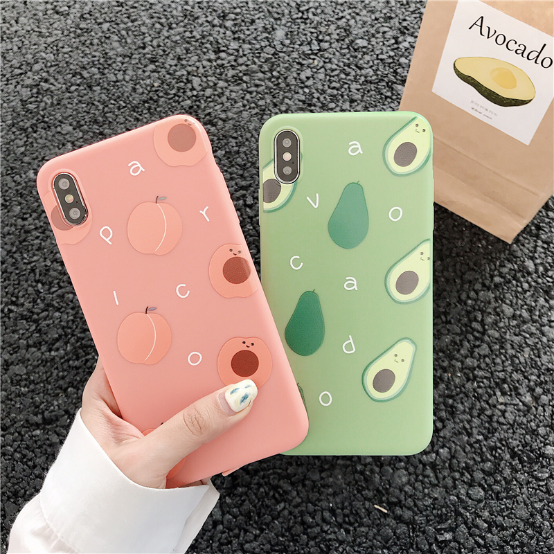 Cute Summer Avocado Peach Fruits Phone Case For iPhone X XS Max XR 7 8 6 S 6S Plus Coque Fashion Soft TPU Silicone Clear Cover in Fitted Cases from Cellphones Telecommunications