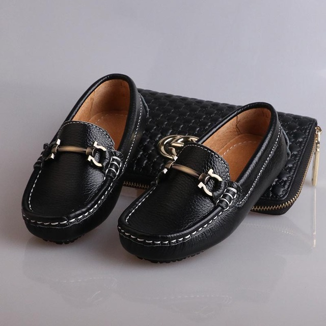 d7d38b7253a4 Size 26-35 2016 Autumn Boys Genuine Leather Loafers Children Flat Slip On  Casual Black Formal Kids Loafer Shoes