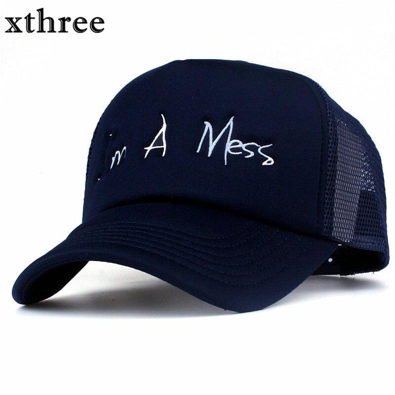 Prix pour Xthree nouvelle maille casquette de baseball d'été fille snapback chapeau pour femmes hommes gorra os casual casquette 5 panneaux Réglable