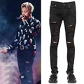 New arrival Mens fashion hip hop stretch cotton ripped broken jeans Bigbang G-dragon black skinny distressed jeans pants M294