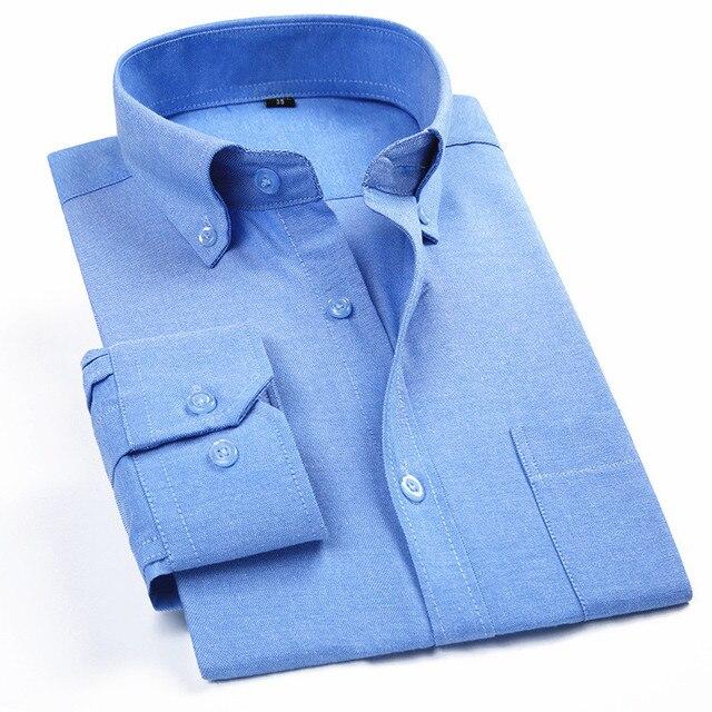 Degli uomini di Oxford Casual Camicia A Maniche Lunghe Plaid A Righe 2020 Primavera Slim Fit Uomo Vestito di Affari Camicia di Marca Confortevole E Traspirante