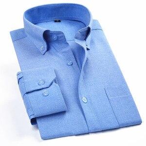 Image 1 - Oxford erkek rahat uzun kollu gömlek ekose çizgili 2020 bahar Slim Fit erkek İş elbise gömlek marka rahat nefes