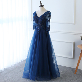 Hot Long Evening Dress Dark Blue Lace Embroidery 3/4 Sleeved Banquet Mother Of The Bride Dresses Robe De Soiree 5