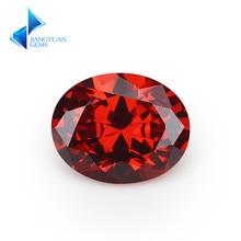 Size 2x3~13x18mm Oval Shape 5A Garnet CZ Stone Synthetic Gems Cubic Zirconia For Jewelry