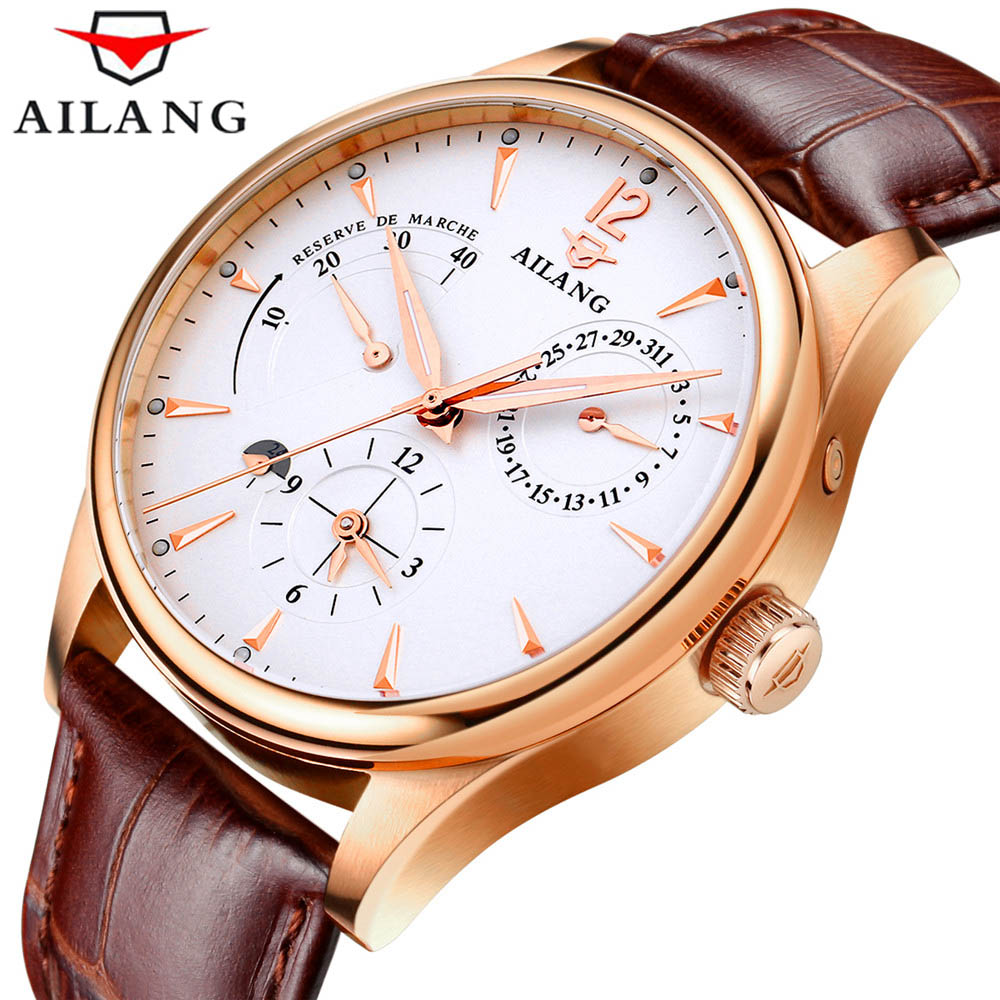 2018 AILANG Sapphire Automatic Mechanical Watch Mens Top Brand Luxury Waterproof Brown Genuine Leather Watch relogio masculine 2018 ailang sapphire automatic mechanical watch mens top brand luxury waterproof brown genuine leather watch relogio masculine