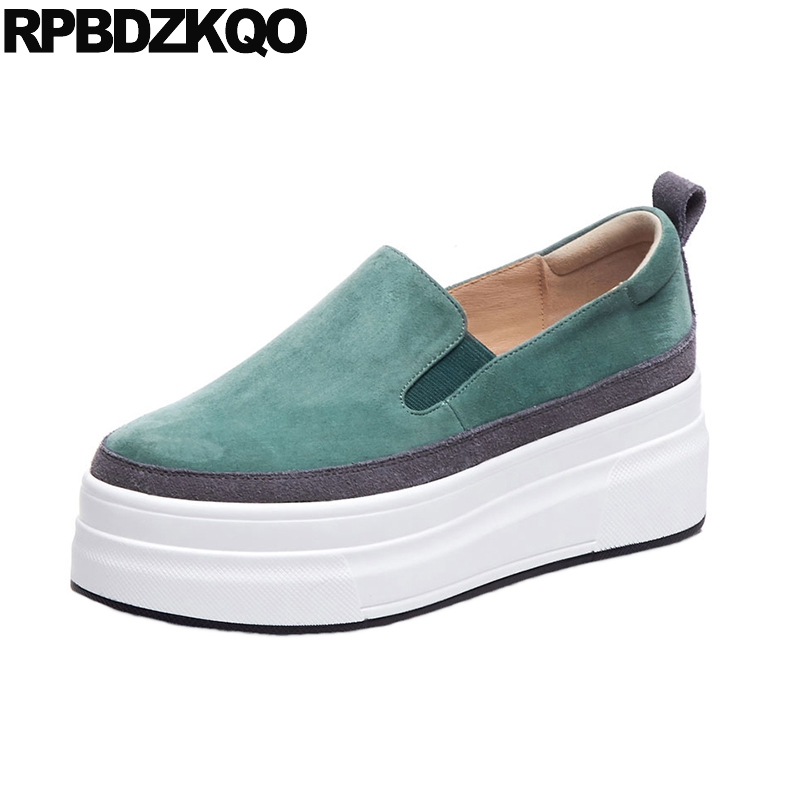 green round toe flats thick sole elevator creepers platform shoes muffin slip on korean women ladies walking fashion wide fit