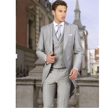 2020 new fashion men's suits business casual style light gray men's pioneer Slim version of the wedding suite groom dress 3 sets