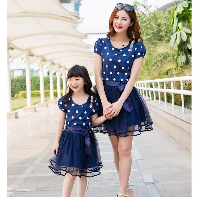 Mom and Daughter Dress New 2017 Mother Daughter Dresses Fashion Blue Dot Mother and Daughter Clothes 2-10Yrs Girls Dress Lovely