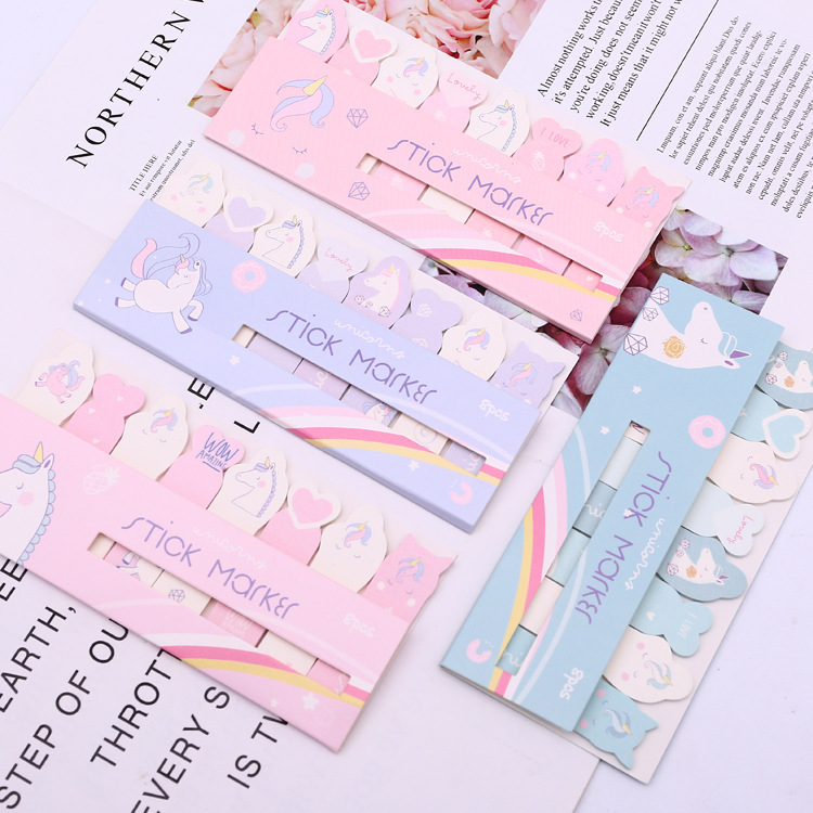 1 Sets Memo Pads Sticky Notes Green Honey Unicorn Paper Notepad Iary Scrapbooking Stickers Office School Stationery Bookmark Excellent In Cushion Effect
