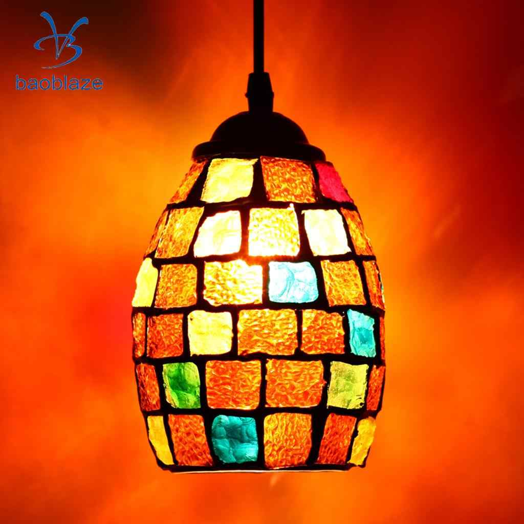 Vintage Retro Mosaic Style Multicolour Pendant Light Bulb Cage Ceiling Hanging Lampshade Home Bar Cafe Restaurant Decoration