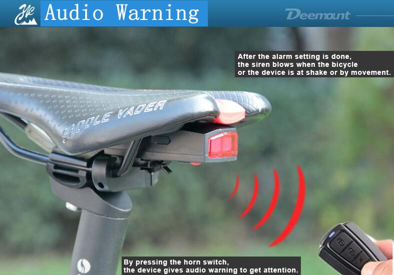 Deemount A6 USB Rechargeable 3 Modes LED COB Bicycle Taillight Anti-Theft Alarm