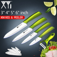 XYJ Cocina Juego de Cocina de Cuchillo de Cerámica 3, 4, 5, 6 pulgadas + Pelador Cuchilla Blanca Manija Cómoda Cuchillos de Cerámica Juego de Herramientas de Cocina