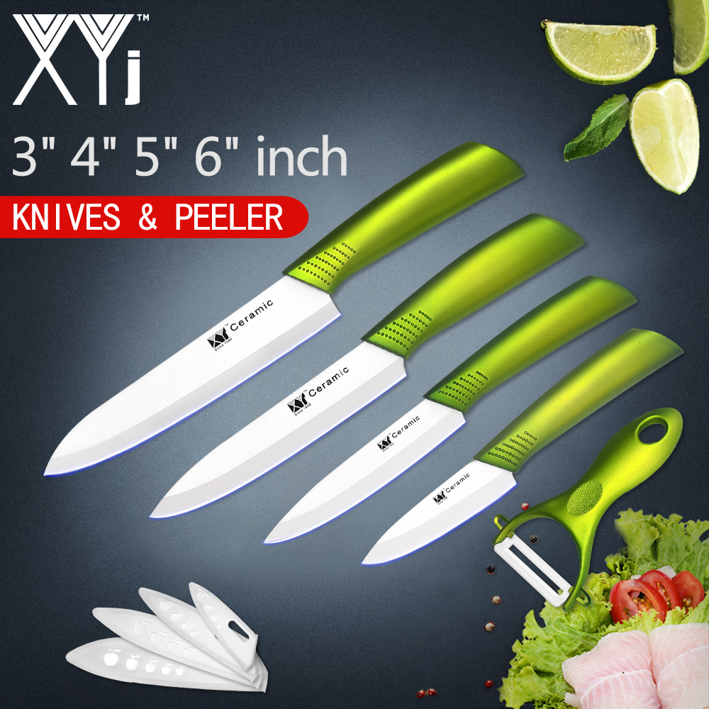 XYj Kitchen Ceramic Knife Cooking Set 3, 4, 5, 6 inch + Peeler White Blade Comfortable Handle Ceramic Knives Set Kitchen Tools