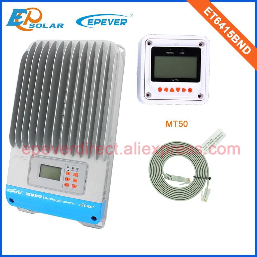 ET6415BND 60A Solar controller 48V 36V EPEVER Charging regulator 60amps MPPT EPsolar with MT50 remote meter 20a 12 24v solar regulator with remote meter for duo battery charging