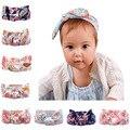 O Envio gratuito de 10 pçs/lote Floral de Algodão Estampado Estilo Coelho Headbands Do Bebê Da Menina