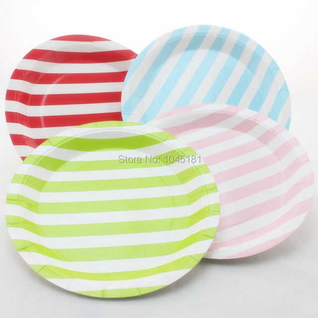 ipalmay Free Shipping Disposable Striped Paper Plates Wedding Party Favor Decor 9  Party Paper Plates  sc 1 st  AliExpress.com & Aliexpress.com : Buy ipalmay Free Shipping Disposable Striped Paper ...