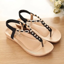 Модные женские туфли сандалии со стразами летние Строка из бисера Обувь Летние женские босоножки шлепанцы Sandale Femme черные босоножки