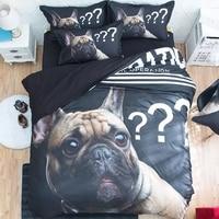 3d Bulldog Print Bedding Sets Twin Queen King Size Flat Bed Sheets with Pillowcase Duvet Cover Textiles Set 3pcs / 4pcs