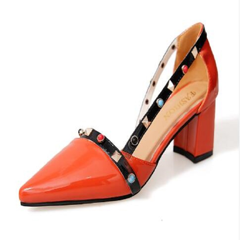 women fashion cute pu leather high heel pumps with rivet lady spring & summer slip on high heels female fashion shoes cresfimix zapatos women cute flat shoes lady spring and summer pu leather flats female casual soft comfortable slip on shoes
