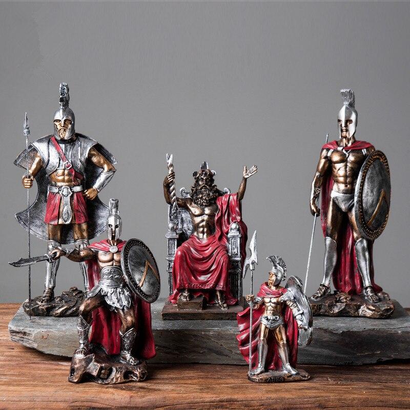 Retro Roman Soldier Knights Statue Greek Mythological Figure Medieval Armor God Sculpture Resin Crafts Home Decoration R02