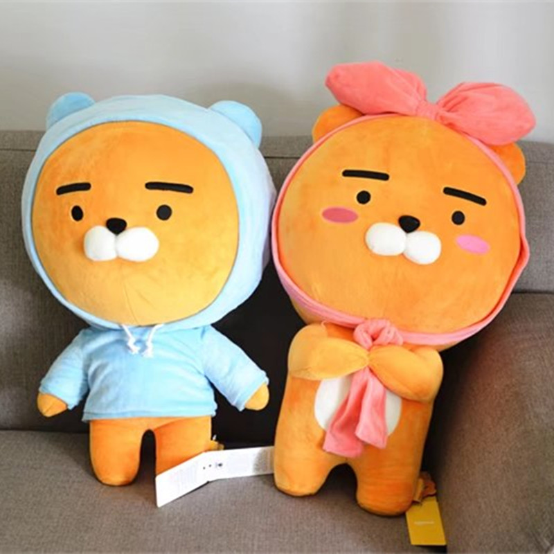 60cm Kakao Friends Plush Lion Toy Stuffed Kawaii Animal Cartoon Love Doll Ryan Cute Cocoa Kids Children Lover Valentine's Gift nooer kawaii cartoon dog plush toy fluffy soft stuffed animal pomeranian doll lovely dog doll for kids children girls gift