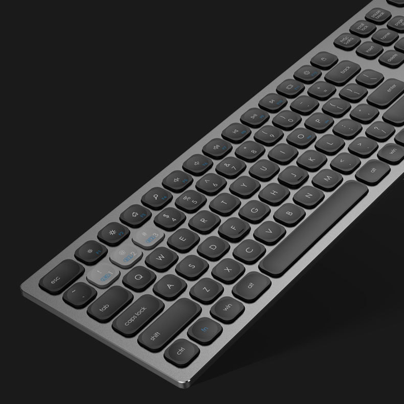 2.4Ghz & Bluetooth Wireless Metal Keyboard, Aluminum Case Full Size 110 Keys, 3 Devices Working Synchronous, Silent & Ergonomic