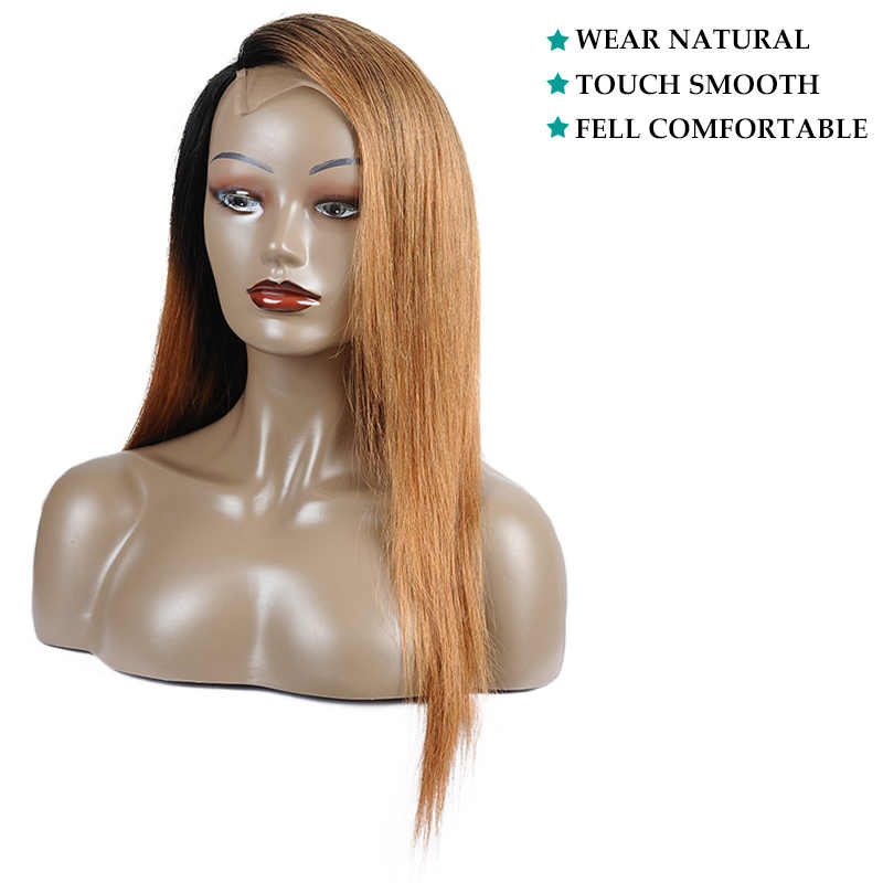 Ienvy Gengibre Loira Lace Front Wigs Ombre Brasileira Peruca Reta Para As Mulheres Negras Cor #30 Parte Dianteira Do Laço Do Cabelo Humano perucas Nonremy