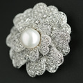 New Style Freshwater Pearl Brooches Gold Plated CZ AAA Cubic Zirconia Flower Brooch Round Real Pearl Jewelry