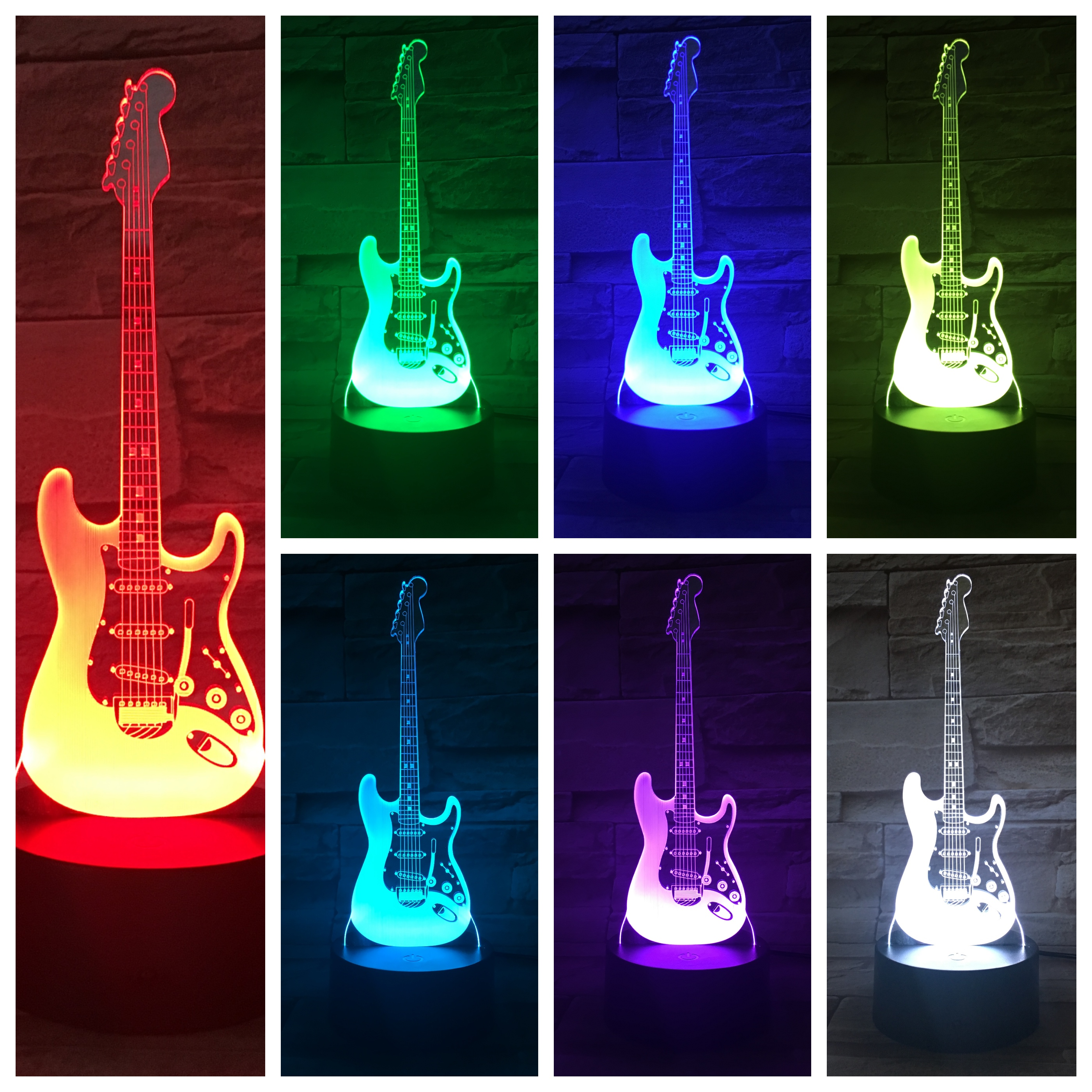 Bass Guitar Table Lamp Bedside Multicolor Rgb Boys Child Kids Baby Gifts Musical Instrument Atmosphere Usb 3d Led Night Light