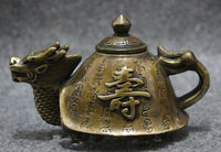 Chinese Old China BRASS Copper Collect Longevity Shou Dragon Turtle Statue Wine Pot Teapot decoration brass factory outlets