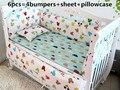 Promoção! 6 pcs fundamento do bebê set cama de bebê colcha de cama de linho Consolador dos desenhos animados, (bumpers + folha + fronha)