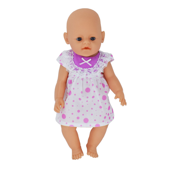 41d34d6d4 Fit for 43cm Baby Doll Dress Clothes Doll Accessories Red Points Princess  Dress New Fashion Child Best Gifts