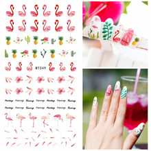 1 sheet Flamingo 3d Nail Stickers Cartoon Cute Animal Designs Nail Art Slider Manicure Decoration For DIY Nail Care Sticker(China)