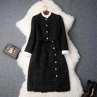 Fashion Designers Runway Dress 2019 Women Winter Long Sleeve Tweed Woolen Jacket+Tank Dress Vintage Autumn Dress Vestidos