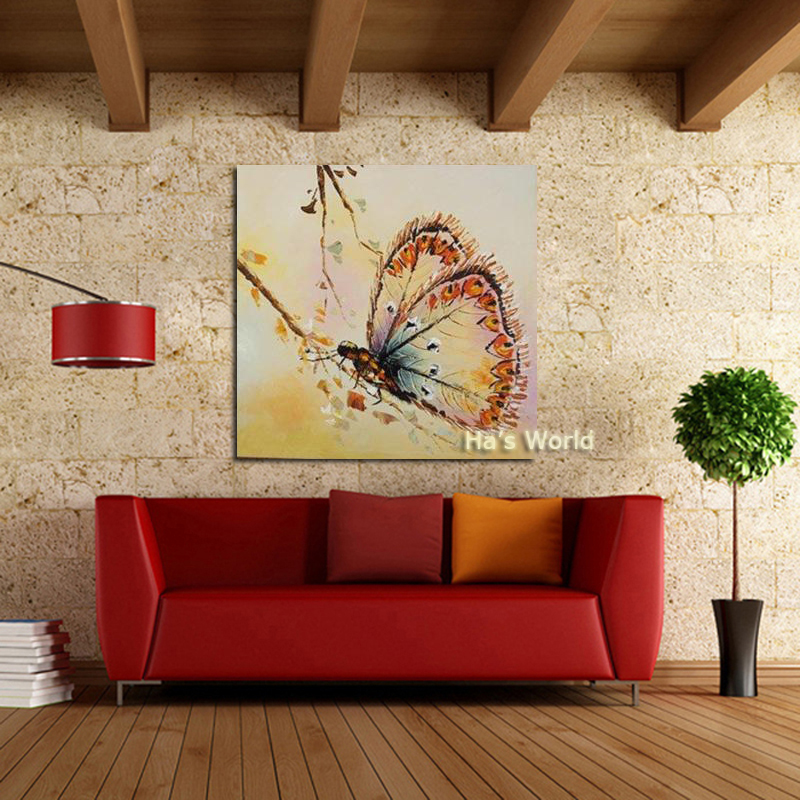Handmade Modern Simple Decorative Butterfly Picture Oil Painting On Canvas Wall Art For Living Room As Unique Gift Animals In Calligraphy From