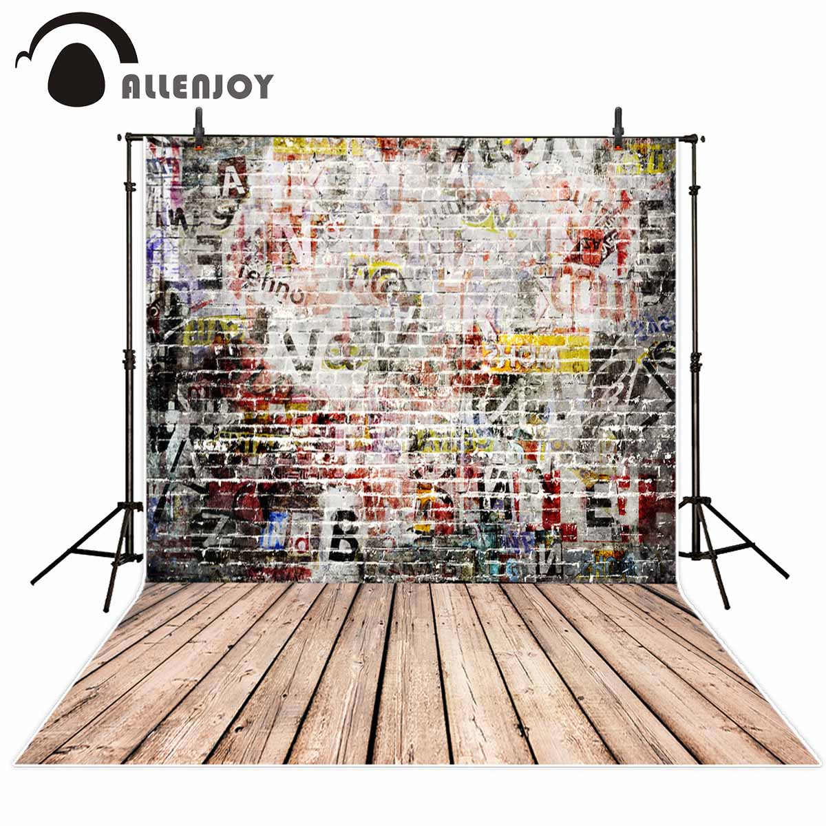 Allenjoy Graffiti background letters cool brick wall wood floor backdrop background for photography studio for photo studio foto 5x10ft 1 5x3m vivid brick wall and weathered wood floor printed studio photography backdrop background for photo studio n 014
