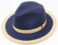 10 unids Fina Mujeres Navy Hombres de Gran Tamaño 60 cm Paja Sombreros de Panamá Señora Sun Paper Caps Trilby Fedora Sombrero Del Verano Mujeres Playa de la Paja los sombreros de ala