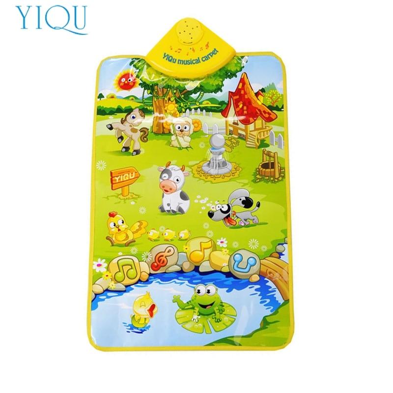 YiQu High Quality Kids Baby <font><b>Farm</b></font> Animal Musical Music Touch Play Singing Gym <font><b>Carpet</b></font> Mat Toy Gift Levert Dropship Aug6