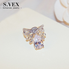 S.vex 2017 New Arrival Fashion Women Wedding Rings Luxury Crystal Finger Ring Bride Crown Jewelry Accessory XH-RG024
